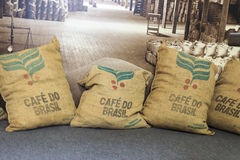 Comercio De Café Santos Brazylia Obrazy Royalty Free