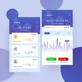 Comercio de Cryptocurrencies, e intercambio UI o concepto de UX para Mobi stock de ilustración