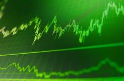 Comercio de la inversión del mercado de acción de las finanzas Analizar datos del mercado de acción sobre un monitor Foto de archivo libre de regalías