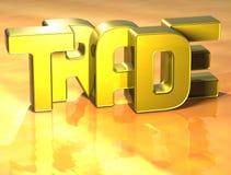comercio de la palabra 3D en fondo amarillo Imágenes de archivo libres de regalías