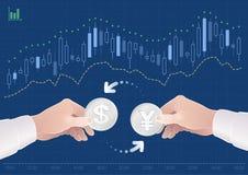 Comercio de los pares de la moneda entre el dólar y Yen On The Forex Market japonés Imágenes de archivo libres de regalías