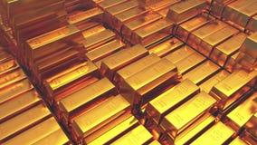 comercio de lujo de las mercancías de las finanzas del lingote de la riqueza del Hacienda de las barras de oro del lingote de oro almacen de video