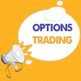 Comercio de opciones del texto de la escritura El concepto que significaba diversas opciones para hacer mercancías o servicios se ilustración del vector