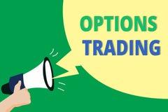 Comercio de opciones del texto de la escritura de la palabra El concepto del negocio para que diversas opciones hagan mercancías  libre illustration