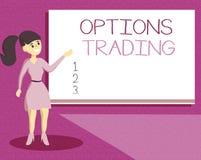 Comercio de opciones de la escritura del texto de la escritura El concepto que significaba diversas opciones para hacer mercancía ilustración del vector