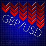 Comercio del diseño gráfico relacionado ilustrando descenso de la moneda Fotografía de archivo
