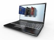 Comercio electrónico. Computadora portátil y de la tarjeta de crédito. libre illustration