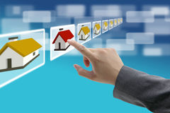 Comercio electrónico de las propiedades inmobiliarias foto de archivo libre de regalías