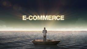 COMERCIO ELECTRÓNICO de levantamiento del error tipográfico, frente del hombre de negocios en una nave, en el océano, mar ilustración del vector