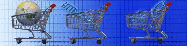 Comercio electrónico de los carros de compras WW Imagen de archivo