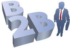 Comercio electrónico del hombre de negocios de B2B stock de ilustración
