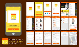 Comercio electrónico, disposición de la plantilla en línea de UI que hace compras, de UX y del GUI ilustración del vector