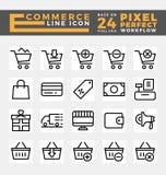 Comercio electrónico e iconos en línea de las compras ilustración del vector