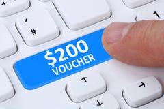 Comercio electrónico en línea de las compras de la venta del descuento del regalo del vale de 200 dólares Fotos de archivo libres de regalías