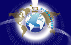 Comercio electrónico global de la tecnología Foto de archivo libre de regalías