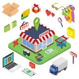 Comercio electrónico isométrico del web plano 3d, negocio electrónico Fotos de archivo