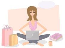 Comercio electrónico. Mujer y computadora portátil. stock de ilustración