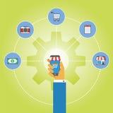 Comercio electrónico usando el teléfono móvil Imágenes de archivo libres de regalías