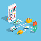 Comercio electrónico isométrico del web plano 3d, negocio electrónico, sh en línea Fotos de archivo libres de regalías