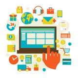 Comercio electrónico y diverso símbolo de las compras Imagenes de archivo