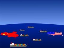 Comercio entre China y los E.E.U.U. stock de ilustración