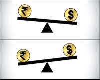 Comercio global de las divisas - dólar y rupia india Foto de archivo