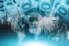 Comercio global euro azul Foto de archivo libre de regalías