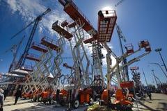 Comercio justo para las máquinas constructivas Foto de archivo