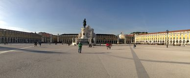 Comercio Plaza. Panoramic view of Comercio Plaza in Lisbon, Portugal Royalty Free Stock Photos
