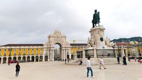 Comercio Square in Lisbon and Augusta Arch Stock Photography