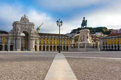 Comercio Square Lisbon Portugal Commercial Area Oceanfront City Stock Photo