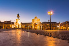 Comercio Square Lisbon Portugal Commercial Area Oceanfront City Royalty Free Stock Image