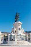 comercioen gör för den konunglisbon portugal för I jose statyn pracaen Kommersfyrkant Royaltyfri Foto