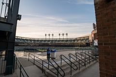 Comerica Park in Detroit, USA. DETROIT, MICHIGAN USA - 5 Jul 2017 Comerica Park is the home of Detroit Tigers baseball team Stock Photos