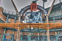 Ernie Harwell, Comerica Park, Detroit, Michigan. Image of Ernie Harwell over entrance to Detroit Tigers Comerica Park in Detroit, Michigan Stock Photos
