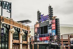 Comerica Park Home Field Of The Detroit Tigers. Detroit, Michigan, USA - March 28, 2018: Exterior of Comerica Park with the Detroit Tigers scoreboard. Comerica Royalty Free Stock Photography