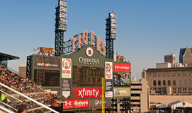 Comerica Park Scoreboard. A photo of the scoreboard at the Detroit Tigers home field, Comerica Park with the city of Detroit skyline in the background Royalty Free Stock Images