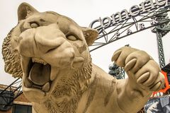 Comerica parkerar hem fältet av Detroit Tigers Arkivbild