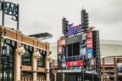 Comerica parkerar hem fältet av Detroit Tigers royaltyfri fotografi