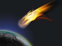 Comet. Images of burning comet flying toward the Planet royalty free illustration