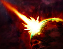 Asteroid. The fantastic image of a Asteroid collision with the planet Royalty Free Stock Photography