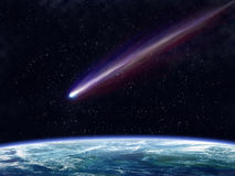 Comet. Illustration of a comet flying through space close to the earth stock illustration