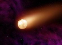 Comet. Glowing ball of fire flies through the space Stock Photos