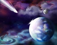The comet is approaching the planet earth. stock illustration