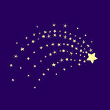 Comet in the blue sky. Stardust night illustration. Star of Bethlehem. Starry background Stock Photo