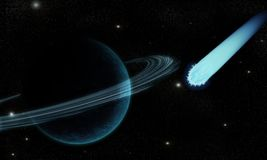Comet in cosmos. Blue comet in cosmos with planets Royalty Free Stock Photos