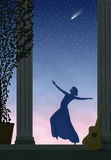 Comet Dancing. Painting of lady dancing on stately porch against starry sky with comet Royalty Free Stock Photos