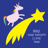 Comet flame with star. Unicorn Make your dreams come true. Quote motivation calligraphic inspiration phrase. Lettering graphic Bl. Ue background Flat design royalty free illustration