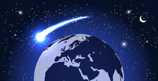 Comet Fly Around the Planet in Space. Vector Stock Photography