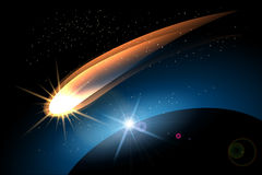 The Comet. Glowing comet in space and planet surface. Colorful illustration Royalty Free Stock Photos